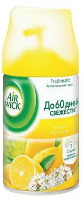 Сменный баллон 250 мл, AIRWICK Лимон и женьшень, для автоматических освежителей, универсальный сменный баллон 5 эфирных масел цветущий лимон pure airwick 250 мл