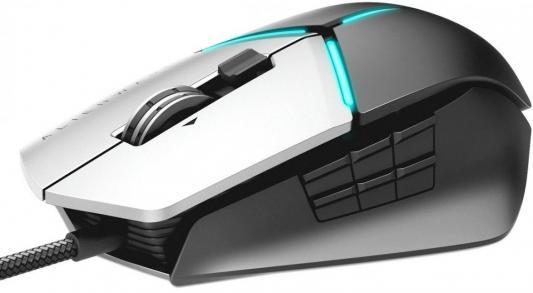 цена на Мышь проводная DELL Alienware Elite Gaming Mouse AW959 серый чёрный USB