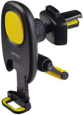 Perfeo-533 Автодержатель для смартфона до 6,5/ на воздуховод/ магнитный/ с опорой/ черный+желтый (PF_A4347) perfeo ph 518 3 автодержатель для смартфона до 6 5 на воздуховод магнитный черный красный pf a4462