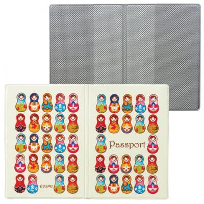 """Обложка для паспорта """"Твой стиль - Матрешки"""", вертикальная, кожзаменитель, """"ДПС"""", 2203.Т8"""