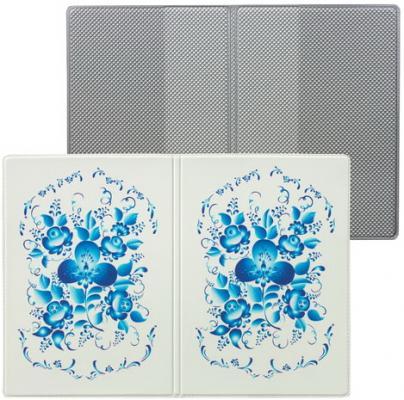 """Обложка для паспорта """"Твой стиль - Гжель"""", вертикальная, кожзаменитель, """"ДПС"""", 2203.Т11"""