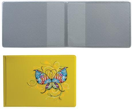 """Обложка для пластиковых карт, дорожных билетов, студенческих билетов """"Бабочка"""", кожзаменитель, """"ДПС"""", 2757.Т1"""
