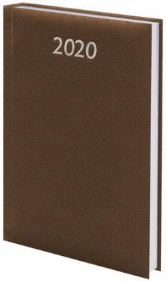 """Ежедневник датированный 2020 А5, BRAUBERG """"Profile"""", фактурная кожа, коричневый, 138х213 мм, 129707"""