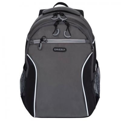 цены на Рюкзак GRIZZLY школьный, анатомическая спинка, мальчик, серый/черный, 40х27х16 см, RB-963-1/4  в интернет-магазинах