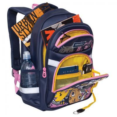 Школьный рюкзак с анатомической спинкой GRIZZLY Арт Коты 13,5 л синий рисунок школьный рюкзак с анатомической спинкой tiger enterprise cool hipster 31010 tg в ассортименте 31010 tg