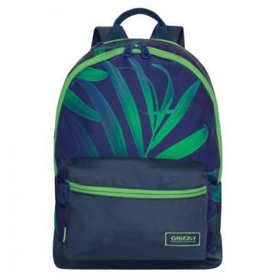цена Городской рюкзак ручка для переноски GRIZZLY Листья 13 л синий зеленый RX-940-4/1 онлайн в 2017 году