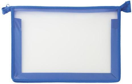 Папка для тетрадей А4 ПИФАГОР, пластик, молния сверху, прозрачная, синяя, 228209 недорого