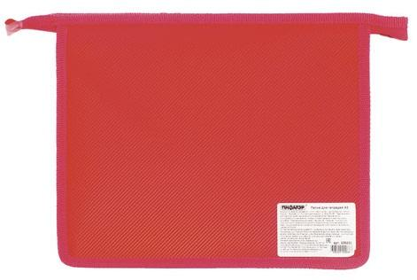 Папка для тетрадей А5 ПИФАГОР, пластик, молния сверху, один тон, красная, 228222 недорого