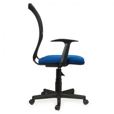 Кресло BRABIX Spring MG-307, с подлокотниками, комбинированное синее/черное, ткань TW, 531404 кресло оператора brabix drive mg 350 с подлокотниками черное синее tw 531392