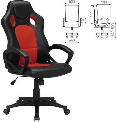 """цена Кресло офисное BRABIX """"Rider EX-544"""", экокожа черная/ткань красная, 531583 онлайн в 2017 году"""