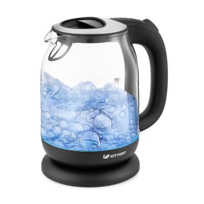 Чайник электрический Kitfort КТ-654-6 1.7л. 2200Вт черный (корпус: стекло) чайник электрический kitfort кт 655 2л 2200вт черный