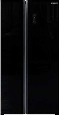 Холодильник Shivaki SBS-574DNFGBL черное стекло (двухкамерный) shivaki холодильник shivaki shrf 601sdw нержавеющая сталь двухкамерный