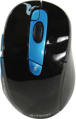 Мышь беспроводная A4TECH Rechargeable 2.4G чёрный синий USB + радиоканал