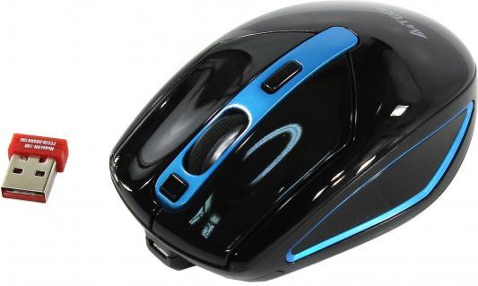 лучшая цена Мышь A4 V-Track G11-590FX черный/синий оптическая (2000dpi) беспроводная USB (6but)