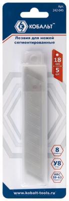 Лезвие для ножа КОБАЛЬТ 242-045 18мм сегментированные 8 сегментов сталь У8 (5 шт.) блистер лезвие для ножа matrix 793555 лезвия 18мм трапециевидные прямые 5 шт 78924 78900 78964 78967