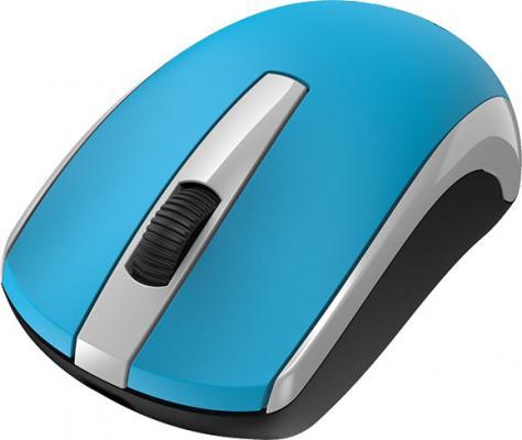 Мышь беспроводная Genius ECO-8100 голубой белый чёрный USB + радиоканал мышь genius netscroll 120 v2 optical usb black