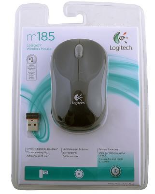 Картинка для Мышь беспроводная Logitech M185 чёрный серый USB 910-002238