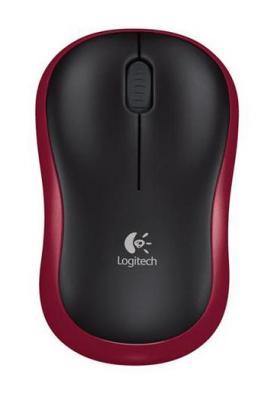 лучшая цена Мышь беспроводная Logitech M185 чёрный красный USB 910-002240