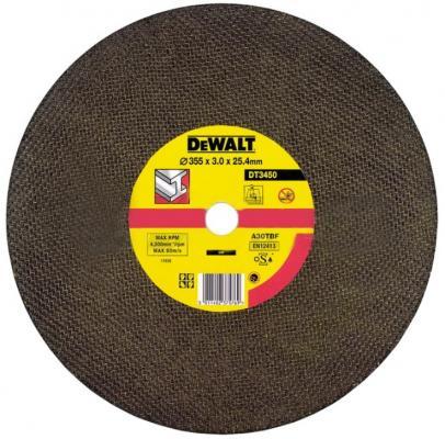 Круг отр. DeWALT DT3450-QZ 355x25.4x3мм, тип 1 (плоский) для монтажных пил по металлу направляющая горизонтальная dewalt для пил d27105 27107 d 271053