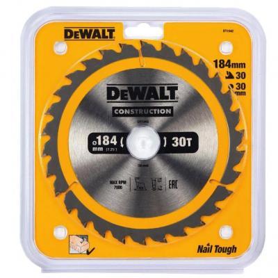 Фото - Пильный диск DEWALT DT1942-QZ CONSTRUCTION п/дер. с гвоздями 184/30 30 ATB +10° пильный диск dewalt dt90249 construction 254 30 40t atb7 dt90249 qz