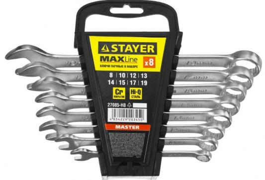 Набор комбинированных ключей STAYER 27085-H8 (8 - 19 мм) 8 шт. набор ключей комбинированных фосфатированных сибртех 8 шт