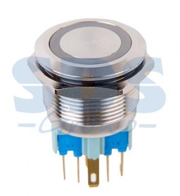 Кнопка антивандальная O22 250В Б/Фикс (6с) ON-OFF/OFF-ON подсв/синяя REXANT б/у выключатель клавишный 250v 15а 6с on off on красный с подсветкой и нейтралью rexant