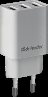 Defender Сетевой адаптер 3xUSB, 5V/3.1А , белый (UPA-31) (83587)