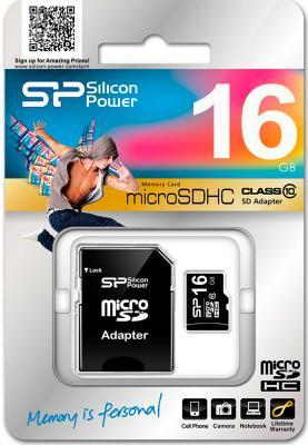 Карта памяти MicroSDHC 16GB Silicon Power Class10 + 1 Adapter