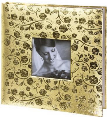 Фотоальбом BRAUBERG свадебный, 20 магнитных листов 30х32 см, под фактурную кожу, светло-золотистый