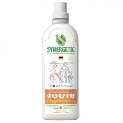 Фото - Кондиционер-ополаскиватель для белья 1 л SYNERGETIC Миндальное молочко, гипоаллергенный, концентрат, 110101 synergetic кондиционер для белья миндальное молочко 1000 мл synergetic