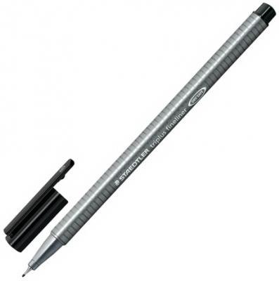 Ручка капиллярная STAEDTLER Triplus Fineliner, ЧЕРНАЯ, трехгранная, линия письма 0,3 мм, 334-9 капиллярная ручка капилярный staedtler triplus fineliner салатовый 0 3 мм