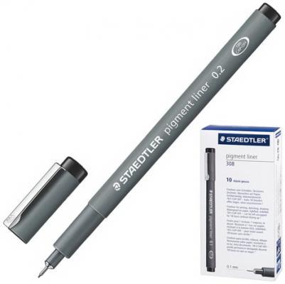 Ручка капиллярная STAEDTLER Pigment Liner, ЧЕРНАЯ, корпус серый, линия письма 0,2 мм, 308 02-9