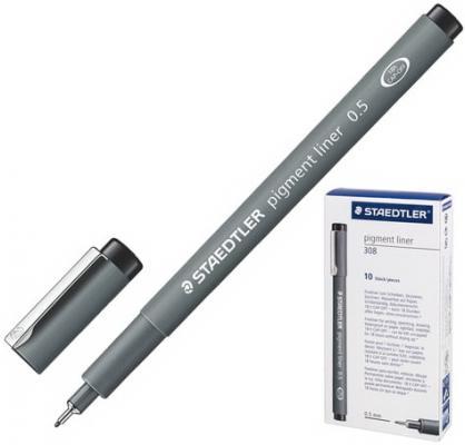 Ручка капиллярная STAEDTLER Pigment Liner, ЧЕРНАЯ, корпус серый, линия письма 0,5 мм, 308 05-9 ручка капиллярная staedtler triplus broadliner 338 box338 30 цвет чернил голубой 10 шт