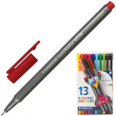 Ручки капиллярные STAEDTLER Triplus Fineliner, набор 13 шт., трехгранные, линия 0,3 мм, ассорти, 334 TB13