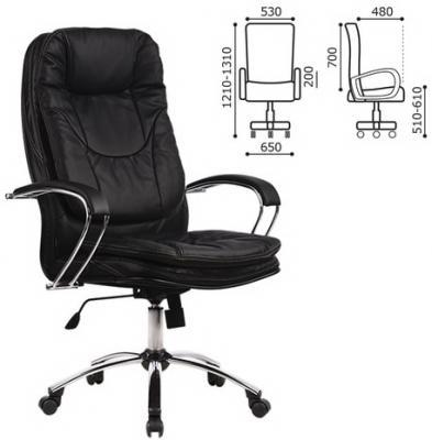 Кресло офисное МЕТТА LK-11CH, кожа, хром, черное