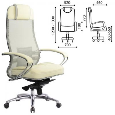 Кресло офисное МЕТТА SAMURAI SL-1, сверхпрочная ткань-сетка/кожа, бежевое офисное кресло profoffice skin сетка кожа белый черный хром сетка кожа полозья