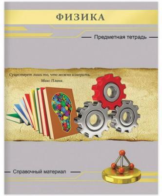 Тетрадь предметная СЕРЕБРО 48 л., фактурное тиснение, ФИЗИКА, клетка, Проф-Пресс, 48-2647