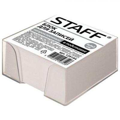 Блок для записей STAFF в подставке прозрачной, куб 9х9х5 см, белый, белизна 70-80%, 129194 блок для записей staff проклеенный куб 9х9х5 см белый белизна 70 80