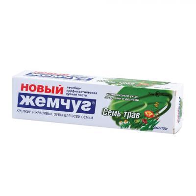 цена на Зубная паста 100 мл, НОВЫЙ ЖЕМЧУГ Семь трав, комплексная защита десен, 17127