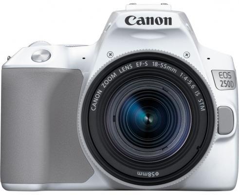 """Зеркальный Фотоаппарат Canon EOS 250D белый 24.1Mpix EF-S 18-55mm f/1:4-5.6 IS STM 3"""" 4K Full HD SDXC Li-ion фотоаппарат цифровой зеркальный canon eos 200d ef s 18 55 is stm kit white"""