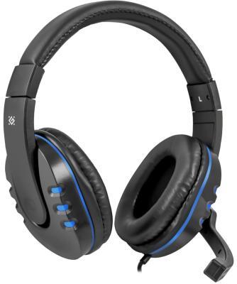 Игровая гарнитура проводная Defender Warhead G-160 черный синий 64118