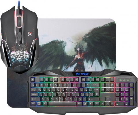 Клавиатура проводная Defender MKP-018 RU USB черный 52018 мышь+ковер все цены