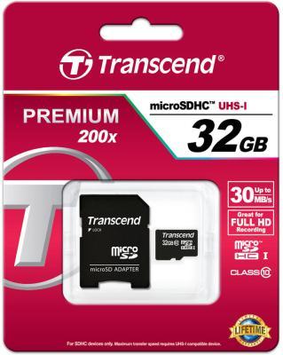 Карта памяти MicroSDHC 32Gb Class 10 Transcend TS32GUSDHC10 + адаптер SD картридер внешний transcend ts rdp8k cf mmc sd sdhc microsdhc msduo msmicro черный