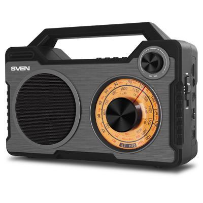 АС SVEN SRP-755, черный, радиоприемник, мощность 8 Вт (RMS), Bluetooth, FM/AM/SW, USB, microSD, встроенный аккумулятор ас sven ps 320 черный акустическая система 2 0 мощность 2x7 5 вт rms waterproof ipx7 bluetooth встроенный аккумулятор