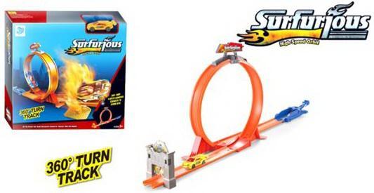 Автотрек Супер скорость с мех.запуском, в комплекте: деталей 10шт., машина 1шт., наклейки 2шт., коро