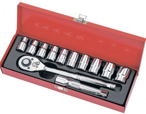 Набор торцевых головок, 1/2, головки 10 - 24 мм, с трещот. ключом, 12 предм.// Matrix набор головок stels 14125 набор торцевых головок 1 4 головки 4 13мм с трещот ключом crv 11пр