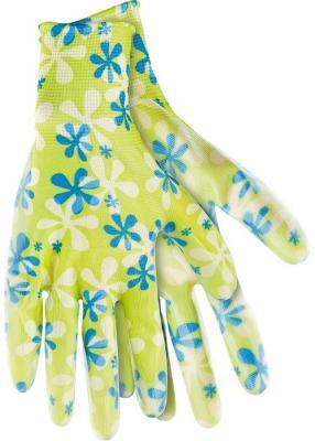 Перчатки садовые из полиэстера с нитрильным обливом, зеленые, L// Palisad цена