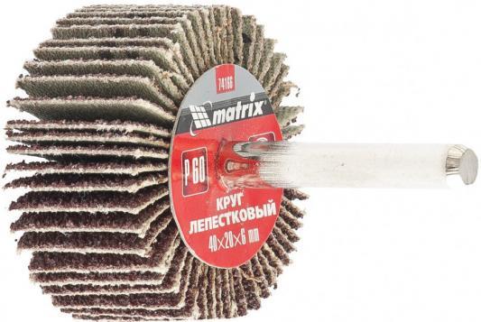 Круг лепестковый для дрели, 40 х 20 х 6 мм, P 60// Matrix круг лепестковый для дрели 60 х 30 х 6 мм р 150 matrix