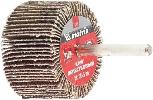 Круг лепестковый для дрели, 80 х 30 х 6 мм, P 100// Matrix круг лепестковый для дрели 60 х 30 х 6 мм р 150 matrix