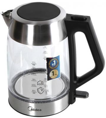 Чайник Midea MK-8011 2200 Вт чёрный серебристый 1.7 л металл/стекло